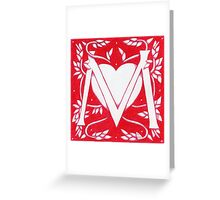 Red Heart Letter M Greeting Card