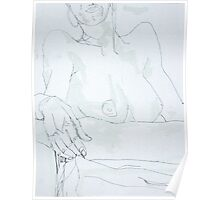 Nude with Hoop Earrings Poster