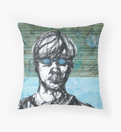 Dive In - Self Portrait with Goggles Throw Pillow