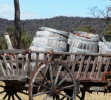Old Wooden Cart with Barrels Sticker