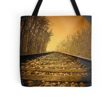 Railroad tracks in the Michigan woods..slipping away Tote Bag