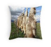 Dead foxes on barbed wire Throw Pillow