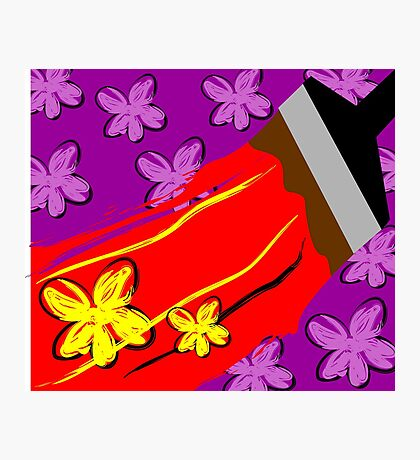 Digital painting of a wall painting brush Photographic Print