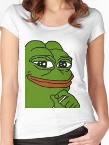smug pepe / smug frog Women's Fitted Scoop T-Shirt
