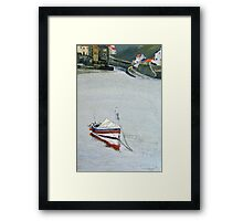 Pilot Me B Moored in Staithes Harbour. Framed Print