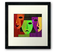 Digital painting of three masks Framed Print