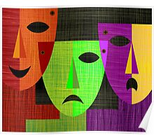 Digital painting of three masks Poster