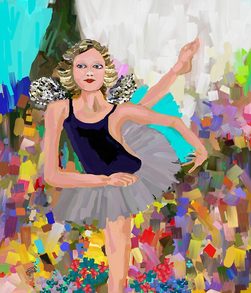 A Fairy dancing thru the flowers by irisgrover