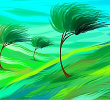 trees in grassland suffering strong wind by tillydesign