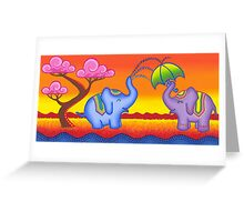 Elephant playing in water Greeting Card