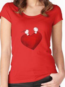 Sitting on a big & Lovely Red Heart - T-Shirt Women's Fitted Scoop T-Shirt