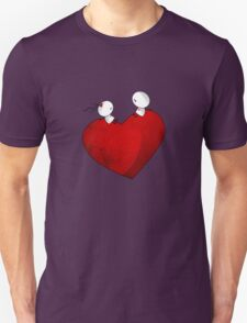 Sitting on a big & Lovely Red Heart - T-Shirt Unisex T-Shirt