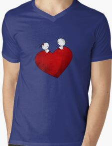 Sitting on a big & Lovely Red Heart - T-Shirt Mens V-Neck T-Shirt