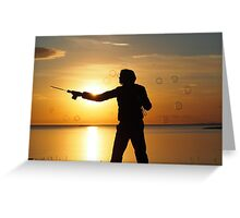 Playing in the sunset Greeting Card