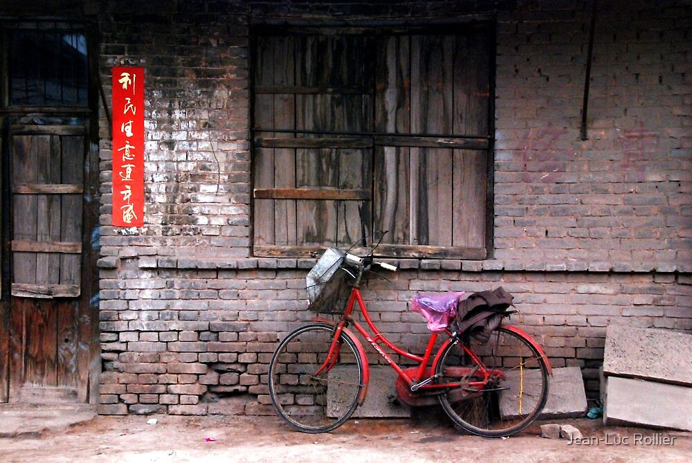 Ping Yao - Red bicycle. by Jean-Luc Rollier