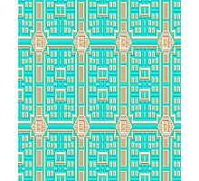 Turquoise fabric wallpaper pattern. Photographic Print