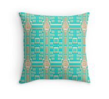 Turquoise fabric wallpaper pattern. Throw Pillow