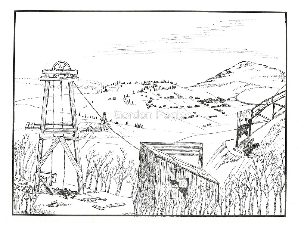 Cripple Creek - Pen & Ink by Gordon Pegler