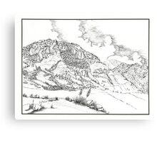 Cheyenne Mountain - Pen & Ink Canvas Print