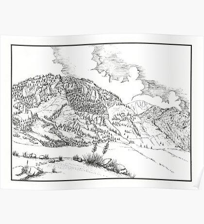 Cheyenne Mountain - Pen & Ink Poster