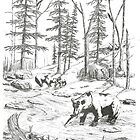 The Three Bears - Pen & Ink by Gordon Pegler