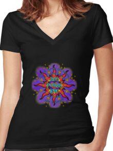 INFINITE LOVE GALACTIC OMMM BLOSSOM Women's Fitted V-Neck T-Shirt