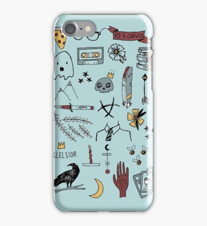 trc doodles blue background iPhone Case/Skin