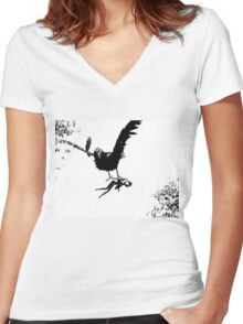 Barbie Carried Away By Monsterbird Women's Fitted V-Neck T-Shirt