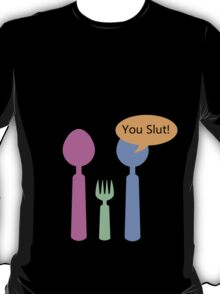 Two spoon parents, one fork child,,,, T-Shirt