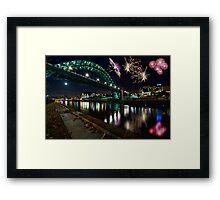 Tyne Bridge Fireworks, Newcastle upon Tyne, UK Framed Print