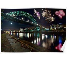 Tyne Bridge Fireworks, Newcastle upon Tyne, UK Poster