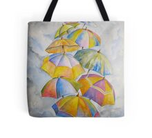 Umbrella Rainy Day Blues 2 Watercolour Painting Tote Bag