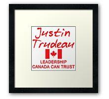JUSTIN TRUDEAU LEADERSHIP CANADA CAN TRUST Framed Print