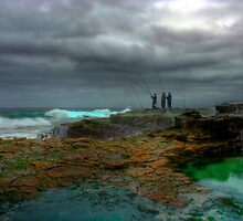 Three Fishermen - Garie Beach, Sydney Royal National Park, NSW by Mark Richards