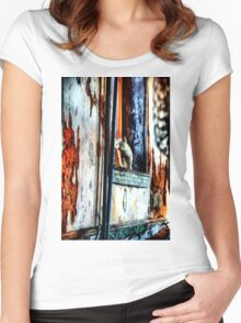 Ghost Kitty in the Window Women's Fitted Scoop T-Shirt