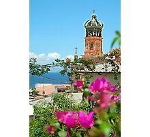 Purple Flowers & Church Tower Photographic Print