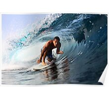 Surfer on a clean left barrel Poster