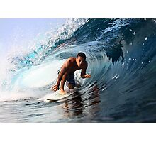 Surfer on a clean left barrel Photographic Print