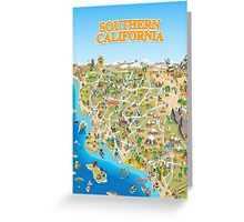 Cartoon Map of Southern California Greeting Card