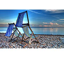 Deckchairs at Beer Photographic Print