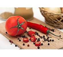 Tomato and paprika on a cutting board Photographic Print