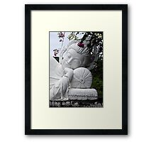 White Reclining Buddha Framed Print