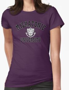 Miskatonic University Black & White Logo Womens Fitted T-Shirt