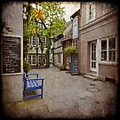 """The Schnoor in Bremen """"Blue Bench and  Star"""" by Manfred Belau"""