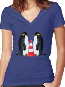 Adoption penguin style Women's Fitted V-Neck T-Shirt