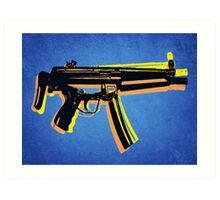 MP5 Sub Machine Gun on Blue Art Print