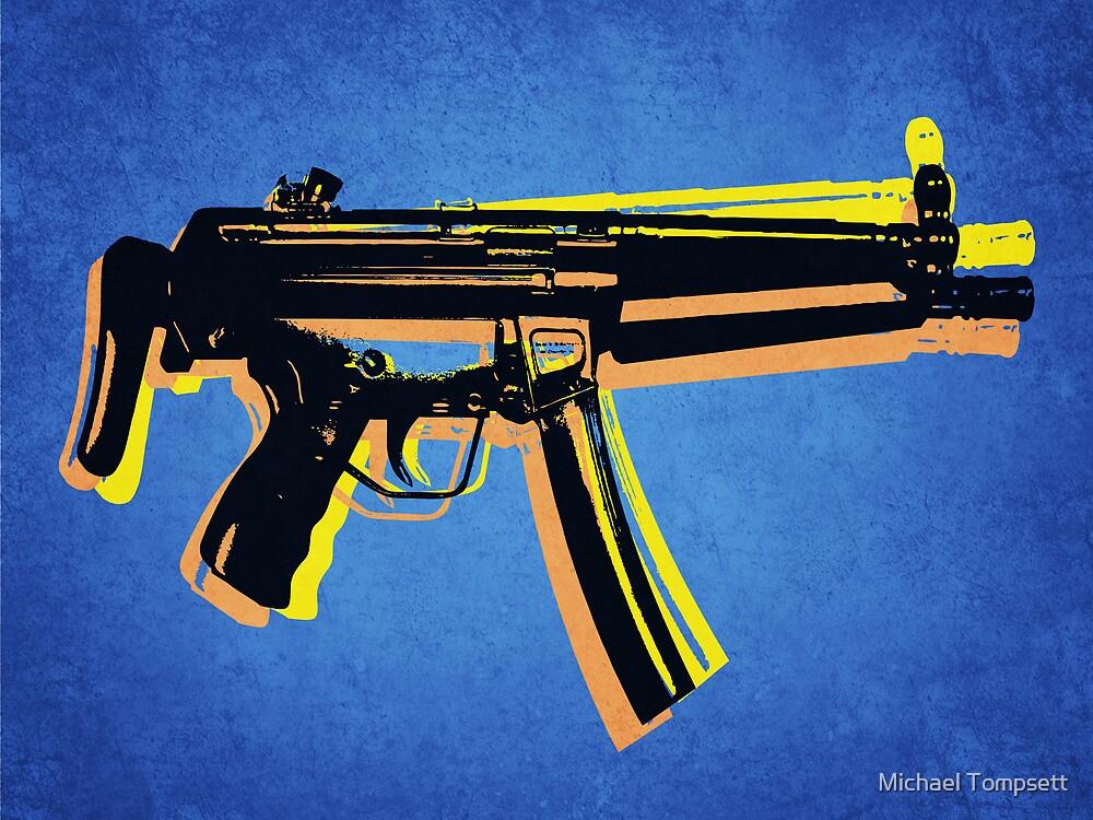 MP5 Sub Machine Gun on Blue by Michael Tompsett