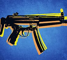 MP5 Sub Machine Gun on Blue by Michael Tompsett