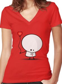 Sad boy with broken heart Women's Fitted V-Neck T-Shirt