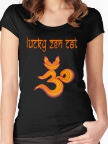 LUCKY ZEN CAT BRAND OMMMBLEM Women's Fitted Scoop T-Shirt
